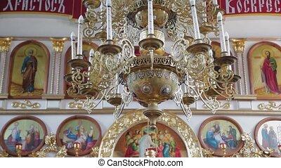 temple., église, orthodoxe, décoration, intérieur