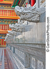 temple, chinois, couloir