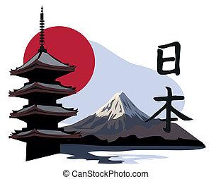 temple, pagode, fuji