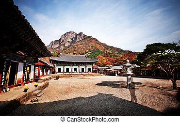 temples, baegyangsa, automne, corée sud, paysage