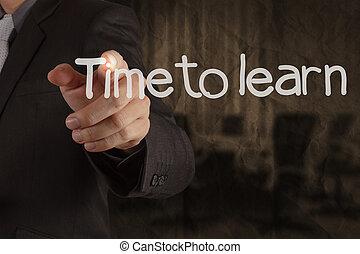 temps, écriture, papier chiffonné, recycler, main, fond, salle, apprendre, réunion, concept