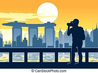 temps, andmark, singapour, coucher soleil