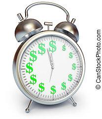 temps, argent, render, 3d