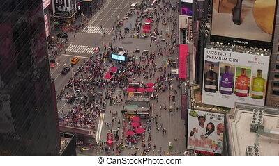 temps, au-dessus, nouvelle voiture, lumière du jour, aerial:, york, sur, lourd, coeur, gens, trafic, carrée, regard, foule, ville