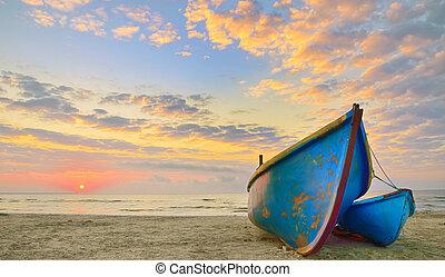temps, bateaux, levers de soleil