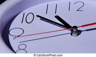 temps, closeup, horloge, fond, concept, blanc