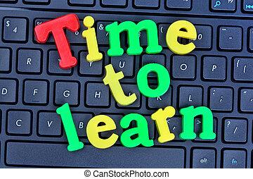 temps, informatique, apprendre, mots, clavier