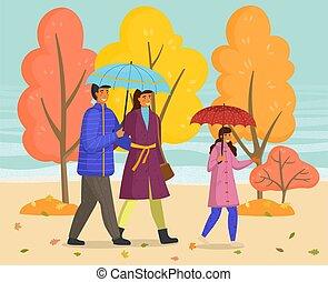 temps, jouir de, mère, parc, marcher ensemble, père, nature, fille, automne, pluvieux, parapluie