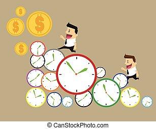 temps, jour, business, homme affaires, par, clocks, time., courses, rang, hâte