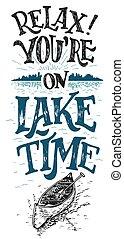 temps, lac, vous êtes, relax.