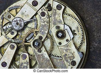 temps, mécanisme, métal, fond, engrenages, montre, vendange, gros plan