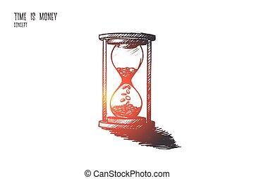 temps, main, argent, isolé, concept., dessiné, vector.