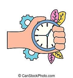 temps, main, horloge