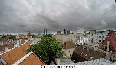 temps, maison, vieux, dormer-window, tallinn, lapse., vue, estonia., ville