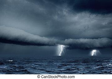 temps, mer orageuse