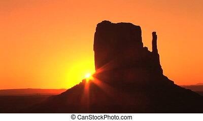 temps, monument, levers de soleil, défaillance, vallée