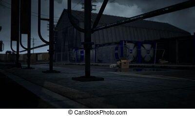 temps, nuageux, sombre, zone, industriel