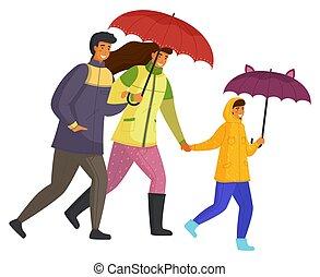 temps, octobre, fille, dépenser, parents, jour, bas, ensemble, rue, mouvement, isolé, pluvieux