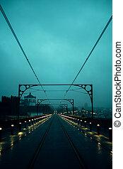 temps, porto, dom, nuageux, luis, pont, fer, portugal., vue, nuit
