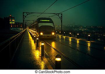 temps, porto, luis, dom, nuageux, pont, trains, fer, portugal., métro, vue, nuit