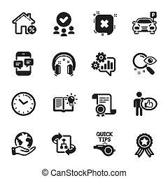 temps, prêt, vecteur, téléphone, icônes, maison, ensemble, messages., technologie, tel