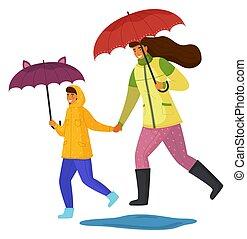 temps, rue, ensemble, dépenser, mouvement, pluvieux, mère, fille, jour, isolé, bas, blanc