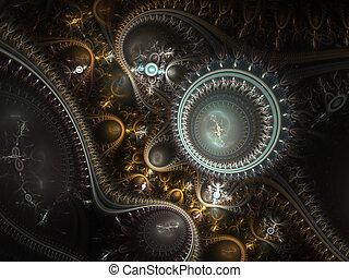 temps, steampunk., machine