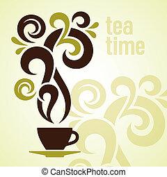 temps thé, illustration, vendange