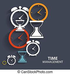 temps, toile, mobile, moderne, icône, gestion, vecteur, application, plat