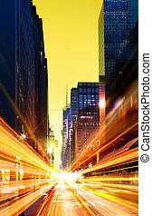 temps, urbain, moderne, ville, nuit