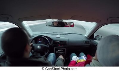 temps, voiture, city., recouvrement, conduite
