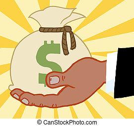 tenant argent, business, sac, main