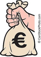 tenant argent, sign), sac main, (euro