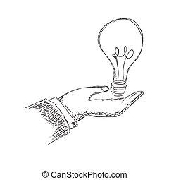 tenant main, ampoule, lumière
