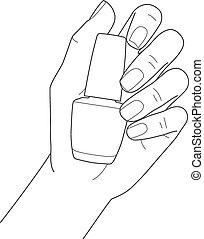 tenant main, clou, femme, polonais, manucure