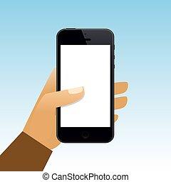 tenant main, vide, smartphone, écran