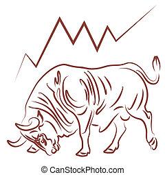 tendance, bourse, bullish, taureau
