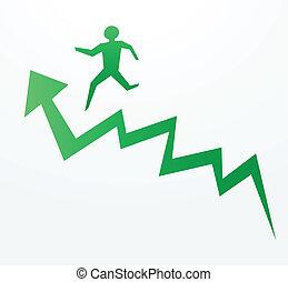 tendance, concepts, haut, économie