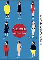 tendances, automne, mode, saison, infographic, hiver, 2017-2018.