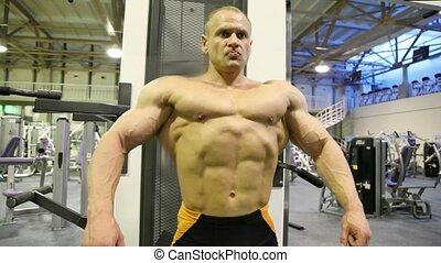 tendre, culturiste, muscles, gymnase