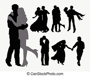 tendresse, amour, silhouet, couple