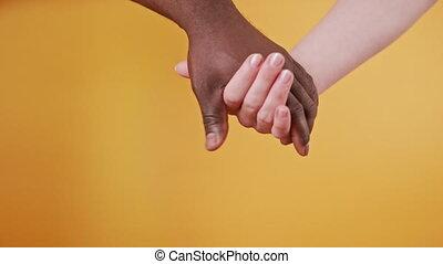 tenir fermeture, orange, arrière-plan., mains, blanc, ensemble, isolé, noir, haut