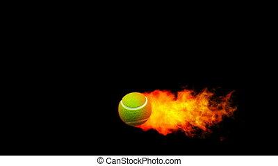 tennis, flammes, fireball