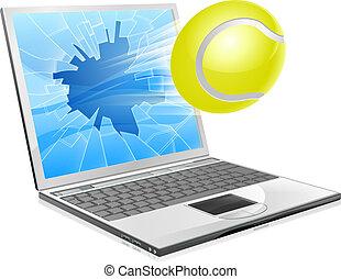tennis, ordinateur portable, concept