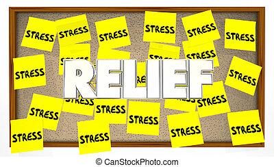 tension, aide, notes, planche, collant, soulagement, bulletin, calme