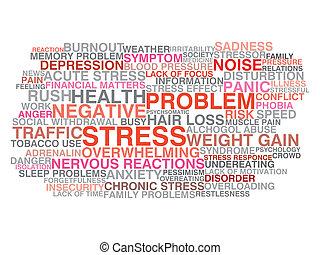 tension, concept, mot, nuage, symptoms.