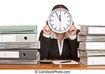 tension, femme, bureau, pression, because, temps, a