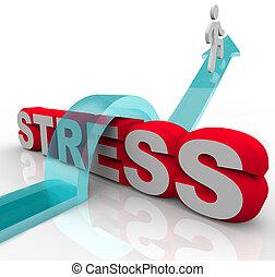tension, inquiétude, mot, sur, surmonter, sauter, battement