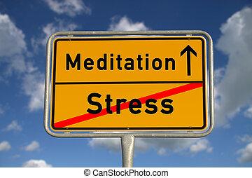 tension, méditation, panneaux signalisations, allemand
