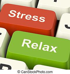 tension, relâcher, clés, travail, pression, informatique, ligne, ou, relaxation, spectacles